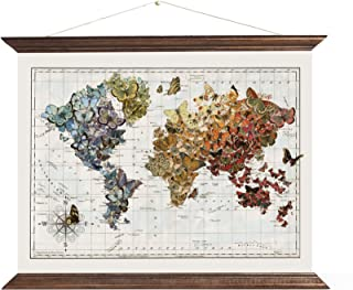 Butterfly Art | Butterfly Wall Decor | Hanging World Map Canvas Wall Art - Migration | Butterfly Gifts | Handmade in USA