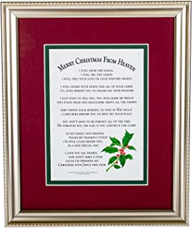 """Merry Christmas from Heaven Elegant Frame - Religious Memorial Bereavement Sympathy Poem in a Antique Silver/ Pewter Patina Picture Frame 8""""x10"""""""