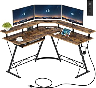 """Rolanstar Computer Desk L-Shaped with Power Outlet and USB Port, 54"""" x 54"""" Corner Gaming Desk with Monitor Stand and Keybo..."""