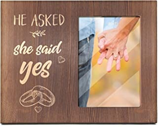 Ku-dayi He Asked, She Said Yes -Picture Photo Frame, Engagement Gifts, Wedding Gifts, Bride to Be, Groom to Be, We're Engaged Photo Frame, Proposal Gifts