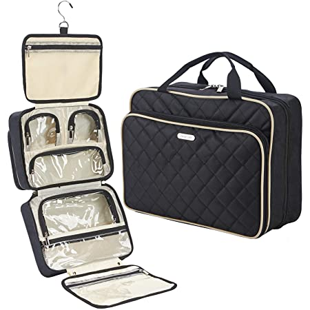 FINDCOZY Extra Large Toiletry Bag with Hanging Hook, Travel Makeup Case for Women, Cosmetic Organizer for Toiletries, Full-Sized Bottles, Beauty, Black