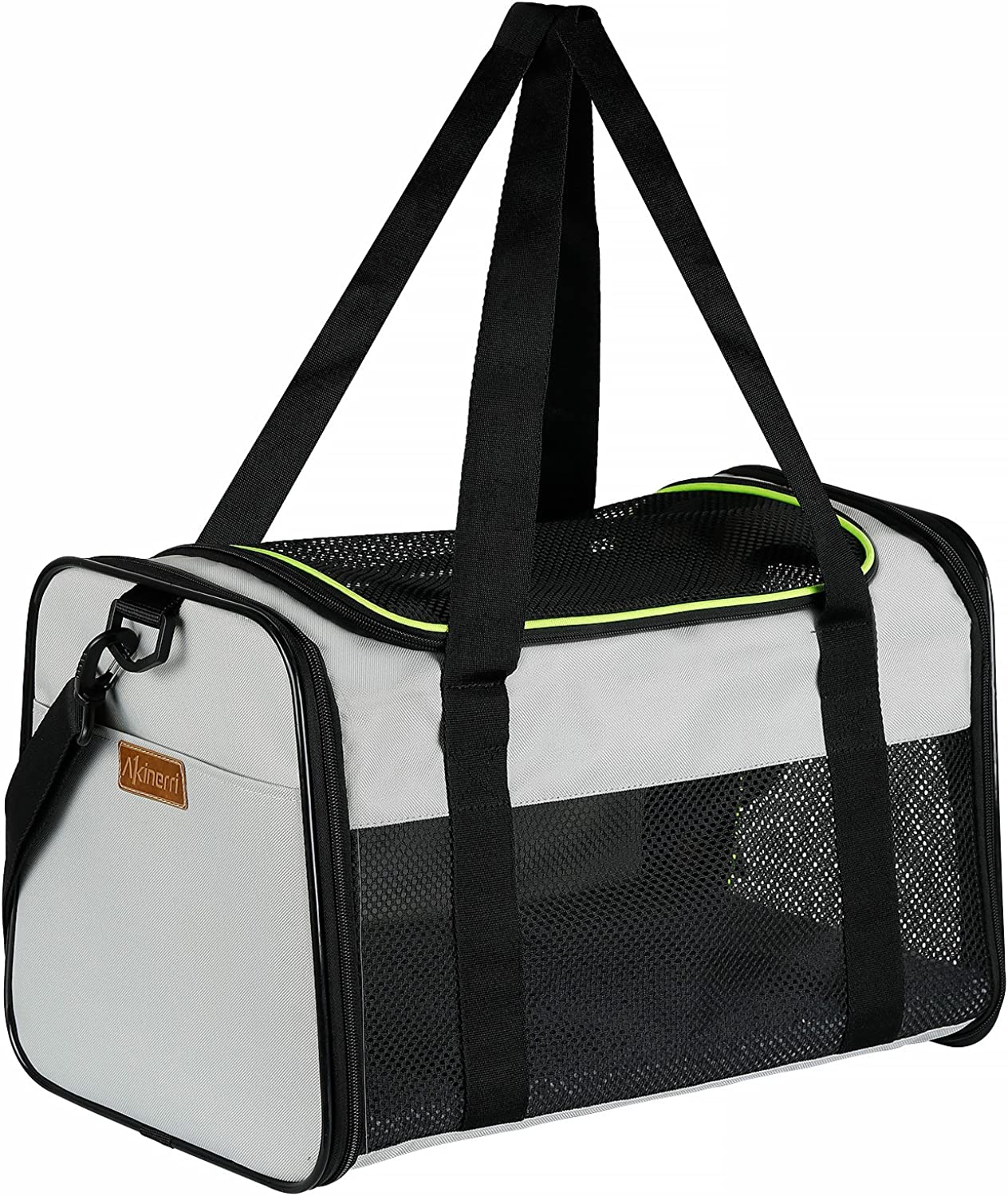 Akinerri Airline Approved Pet Carriers,Soft Sided Collapsible Pet Travel Carrier for Medium Puppy and Cats (Large)