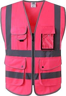 JKSafety Nueve bolsillos Nivel 2 Uniforme trabajo Chaleco con cremallera-Chaleco reflectante fluorescente-Chaleco de segurida Rosa(X-Large)