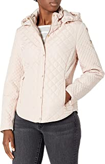 womens Quilted Jacket With Removable Hood