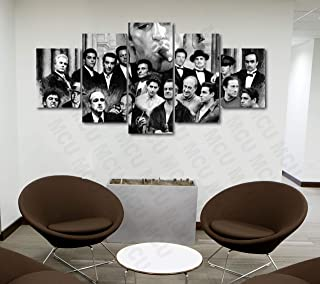 5 Piece Famous People Mafia Drug Dealers Poster Canvas Print Art Decor Wall Like Painting Look (5 Piece Medium, Family Gangsters Scarface Black & White)