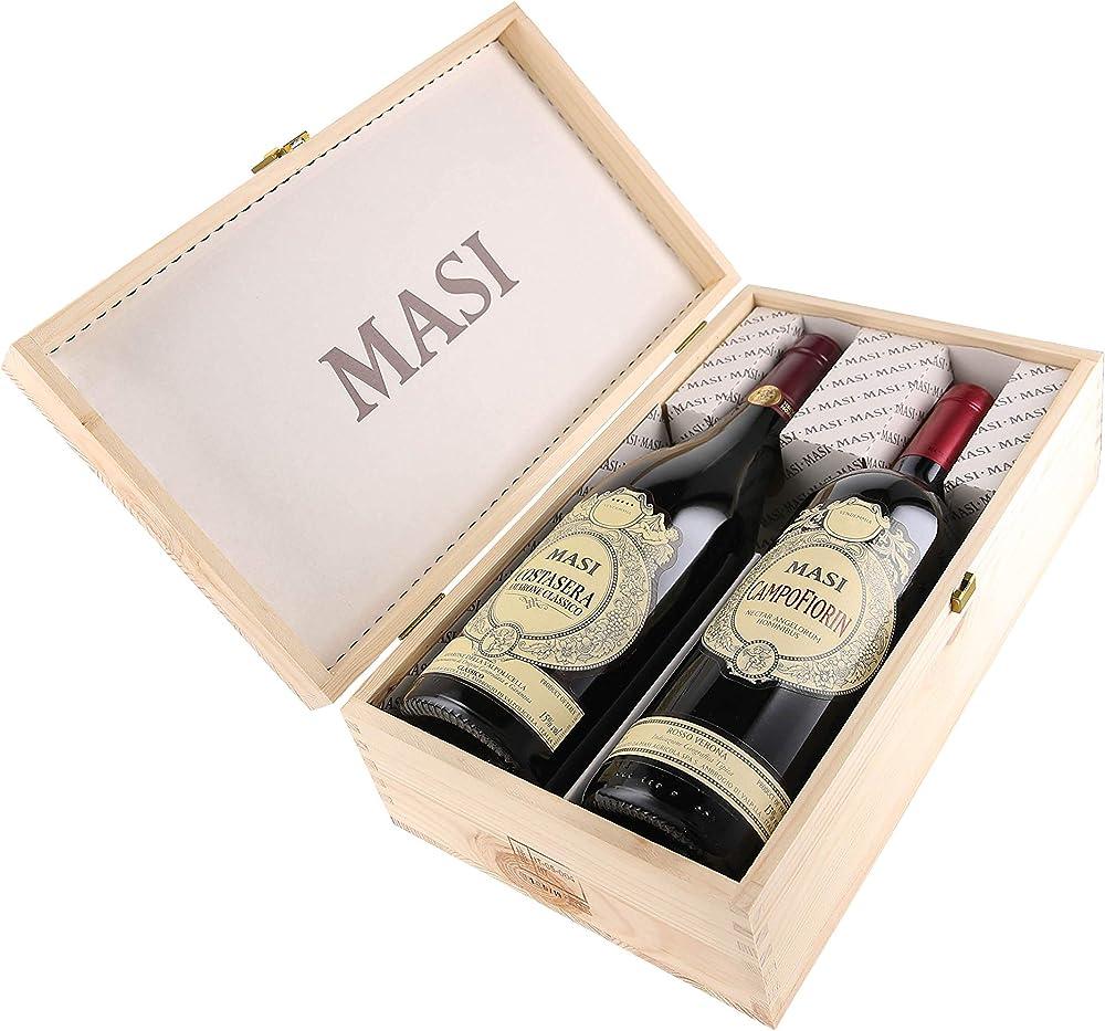 Masi,cassetta da 2 bottiglie, amarone costasera e campofiorin,0,75 l,cassetta di legno Masi