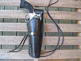 """Western Express – Right – for 6"""" Black Smooth Leather Gun Holster (.22 .38 .45 Caliber)"""
