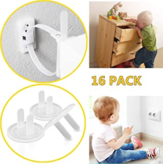 Furniture Straps (6 Pack) Baby Proofing Anti Tip Furniture Anchors Kit - Adjustable and Easy To Install With Baby Proofing Outlet Covers (10 Pack) - Furniture Anchors For Baby Proofing