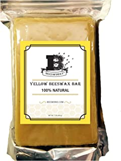 Yellow Beeswax Bar-1LB Block By Beesworks® - 100% Pure, COSMETIC GRADE-Premium Quality For Many Uses