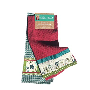 The Pioneer Woman Kitchen Towel Kari Diamond,red, green, white,2 Piece Set