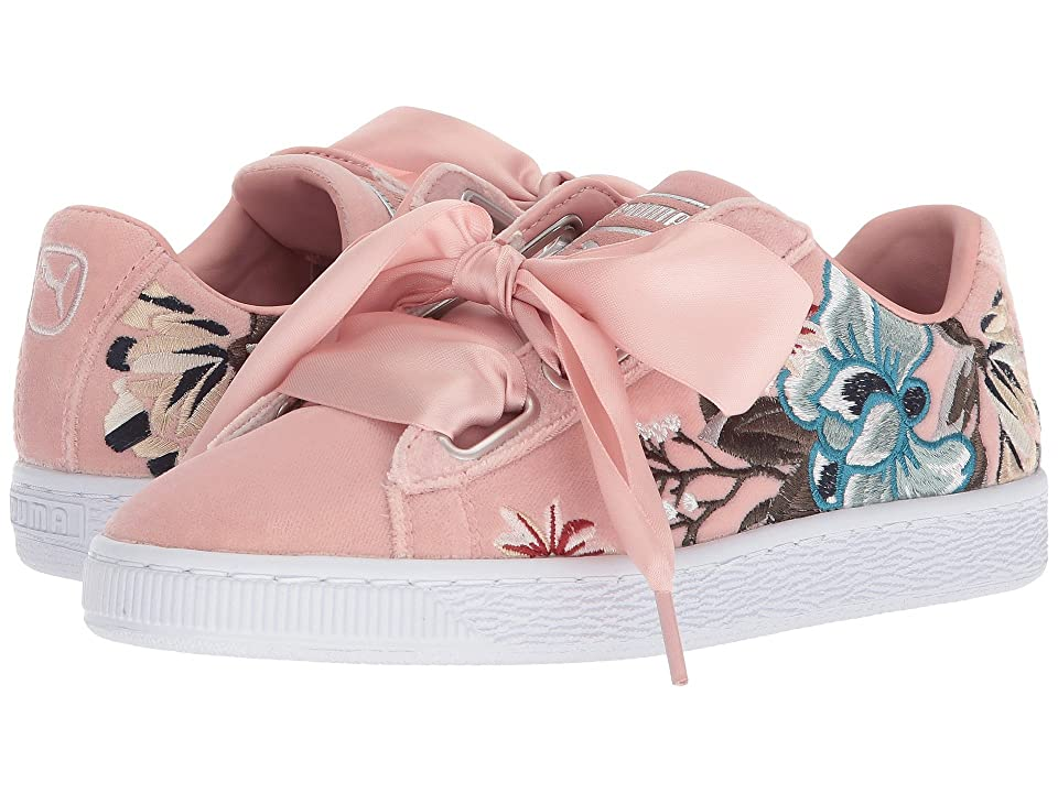 e3d5fe889ba PUMA Basket Heart Hyper Emb (Peach Beige) Women s Shoes