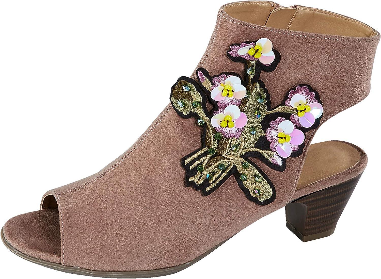 Liva Loop Damen Sandale mit Blütenapplikation und Zierpailletten 39  | Neues Design  | Sofortige Lieferung  | Sehr gute Qualität