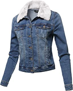 c8d027f3af625 Awesome21 Women s Casual Soft Shell Stretch Long Sleeves Denim Jacket