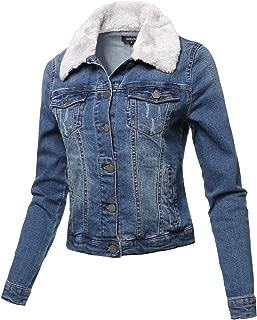 Casual Fur Collar Stretchable Retro Denim Jacket White Size M