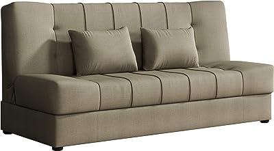 Schlafsofa Campuso Blau Weiss Stoff Sofa Couch Massiv Holz