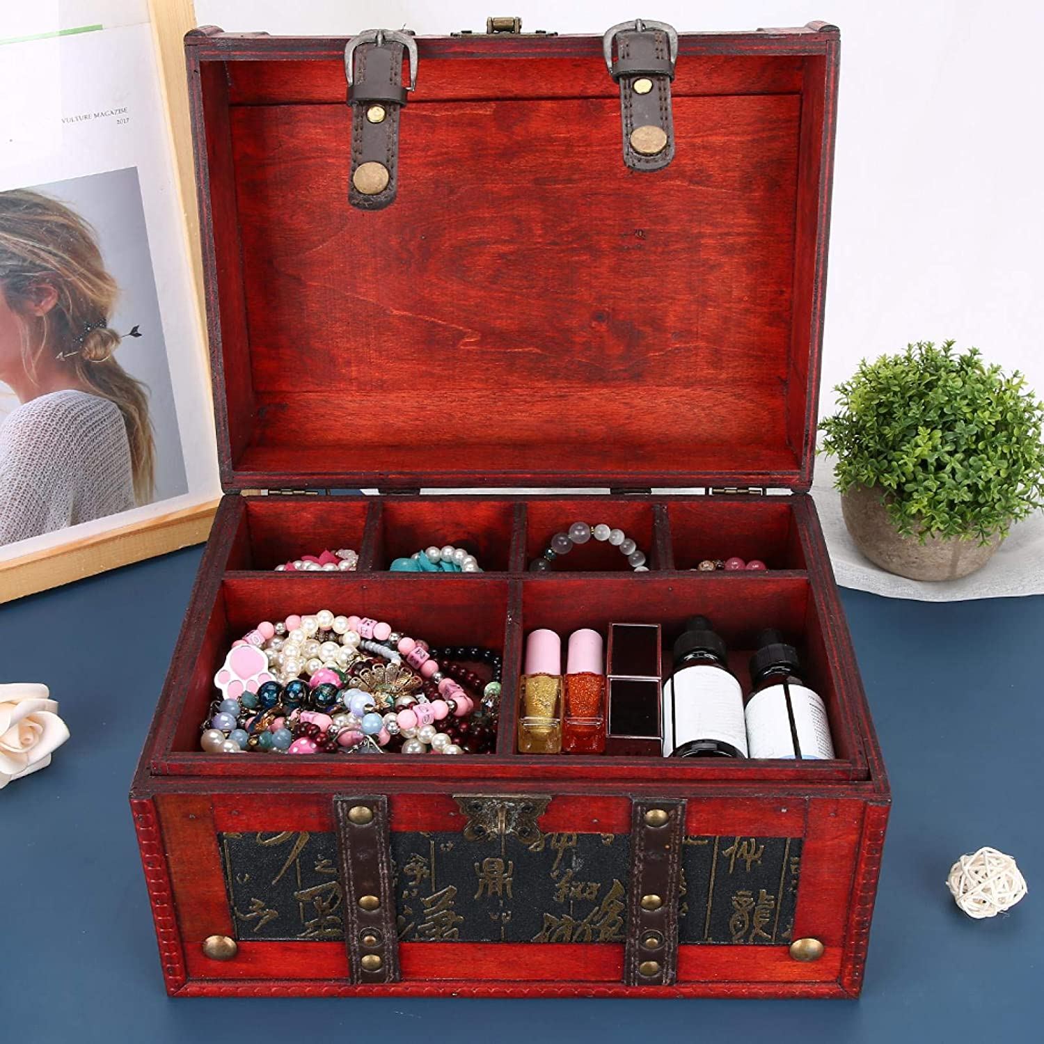 Wood PU Leather Handle Storage Jewelry for Photogr Container Popular products Box Max 64% OFF