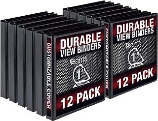 Samsill Durable 1 Inch D Ring Black Binder/Customizable Clear View Binder/Bulk Binder 12 Pack/Black 3 Ring Binder/One Inch Binder