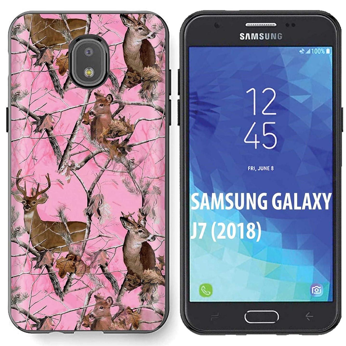 [NakedShield] Samsung Galaxy (J7 2018)/J7 Aero/J7 Refine/J7 Star/J737/J7 V 2nd Gen [Black] Ultra Slim TPU Phone Cover Case [Pink Deer Camouflage Print]