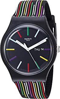 Swatch I Love Your Folk Quartz Silicone Strap, Black, 20 Casual Watch (Model: SUOB729)