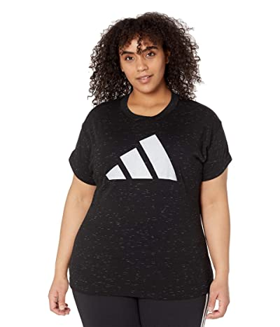 adidas Plus Size Win 2.0 Tee (Black Melange) Women