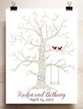 Wedding Guest Book Alternative Thumbprint Tree with Swing for Fingerprints and Love Birds Canvas or Paper