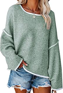 Byinns Women's Back Fringe V Neck Soft Simple Sweater Casual Oversized Pullover Cropped Fall Winter Sweaters