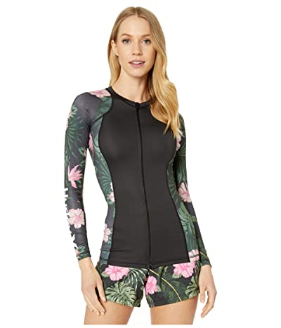 Hurley One and Only Lanai Long Sleeve Rashguard Zip (Anthracite) Women