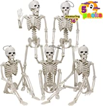 Posable Halloween Skeletons, Full Body Posable Joints Skeletons 5 Packs for Halloween Decoration, Graveyard Decorations, Haunted House Accessories, Indoor/Outdoor Spooky Scene Party Favors, Photo Prop