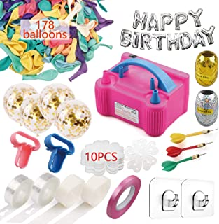 Balloon Pump Set, Electric Air Balloon Blower Pump, Balloon Inflator 110V 600W Portable Dual Nozzles - Balloon Decorating Strip Kit for Arch Garland 32Ft Balloon Tape Strip, 178 Pieces Balloons, 2 Pcs Tying Tool, 200 Dot Glue, 10 Ballon Flower Clip,3 Rolls Colored Ribbon, 2 Hooks, 3 Darts for Party Wedding Birthday Xmas Baby Shower DIY
