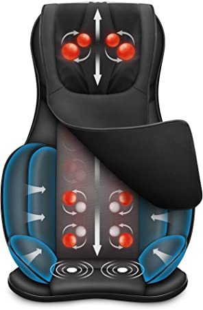 Snailax Full Body Massage Chair Pad Fathers Day Gifts Shiatsu Neck Back Massager with Heat & Compress, 3D/4D Kneading Full Back Massage Seat Portable Chair Massagers for Back and Neck, Shoulder Mu...