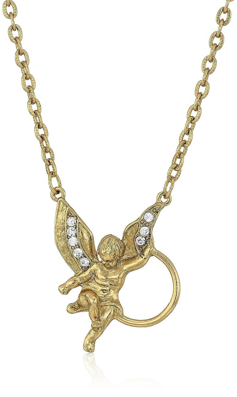 1928 Jewelry Womens Gold-Tone Angel Crystal Eyeglass/Badge Holder Pendant Enhancer, 28