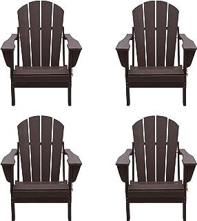 WO 4 Piece Set Outdoor Folding Poly Adirondack Chair for Backyard, Lawn, Patio, Deck, Garden, Weather Resistant Polyethyle...