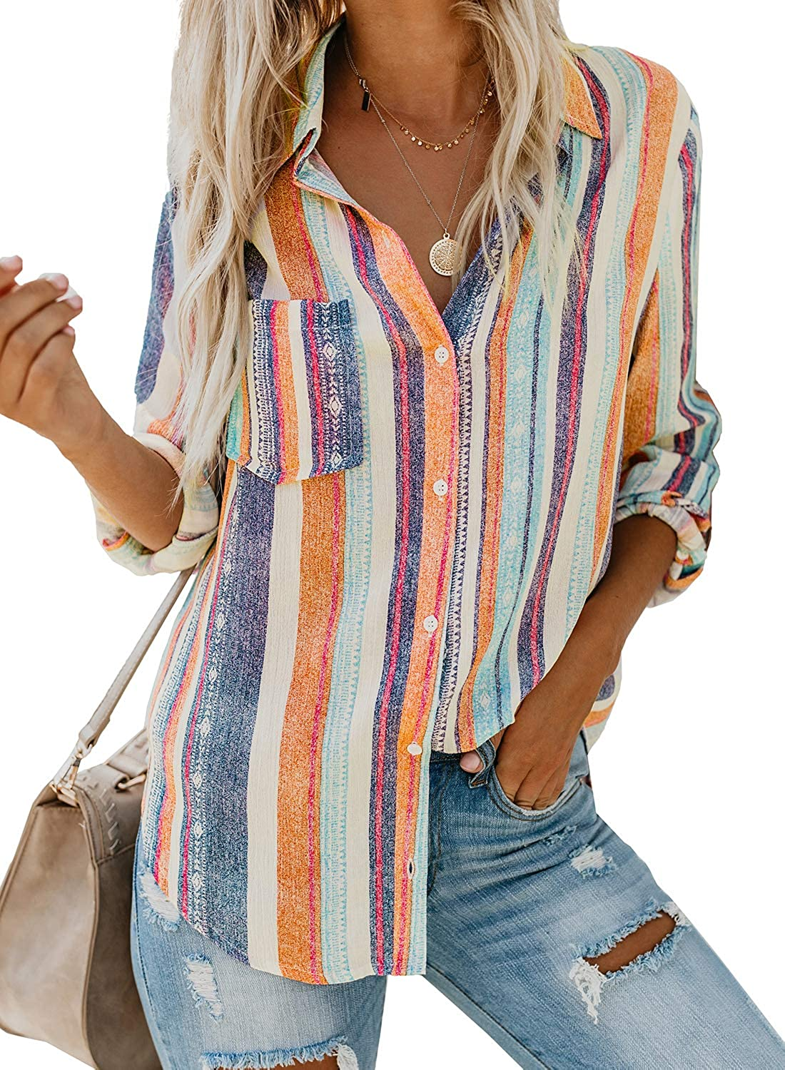 Biucly Women's Casual Stylish Striped V Neck Button Down Roll up Sleeve Blouses Shirts Tops S-2XL
