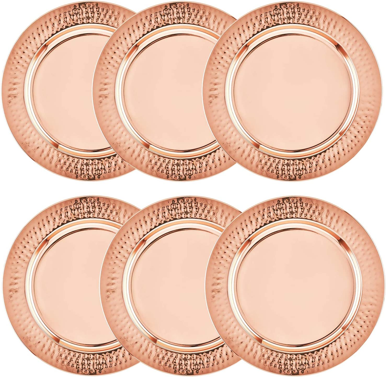 Colleta Home Copper Charger Plate - 6 Pack - 13 inch Rose Gold Charger with Hammered Rim - Copper Charger Plate Set