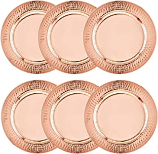 Colleta Home Copper Charger Plate - 6 Pack - 13 inch Copper Charger with Hammered Rim - Copper Charger Plate Set