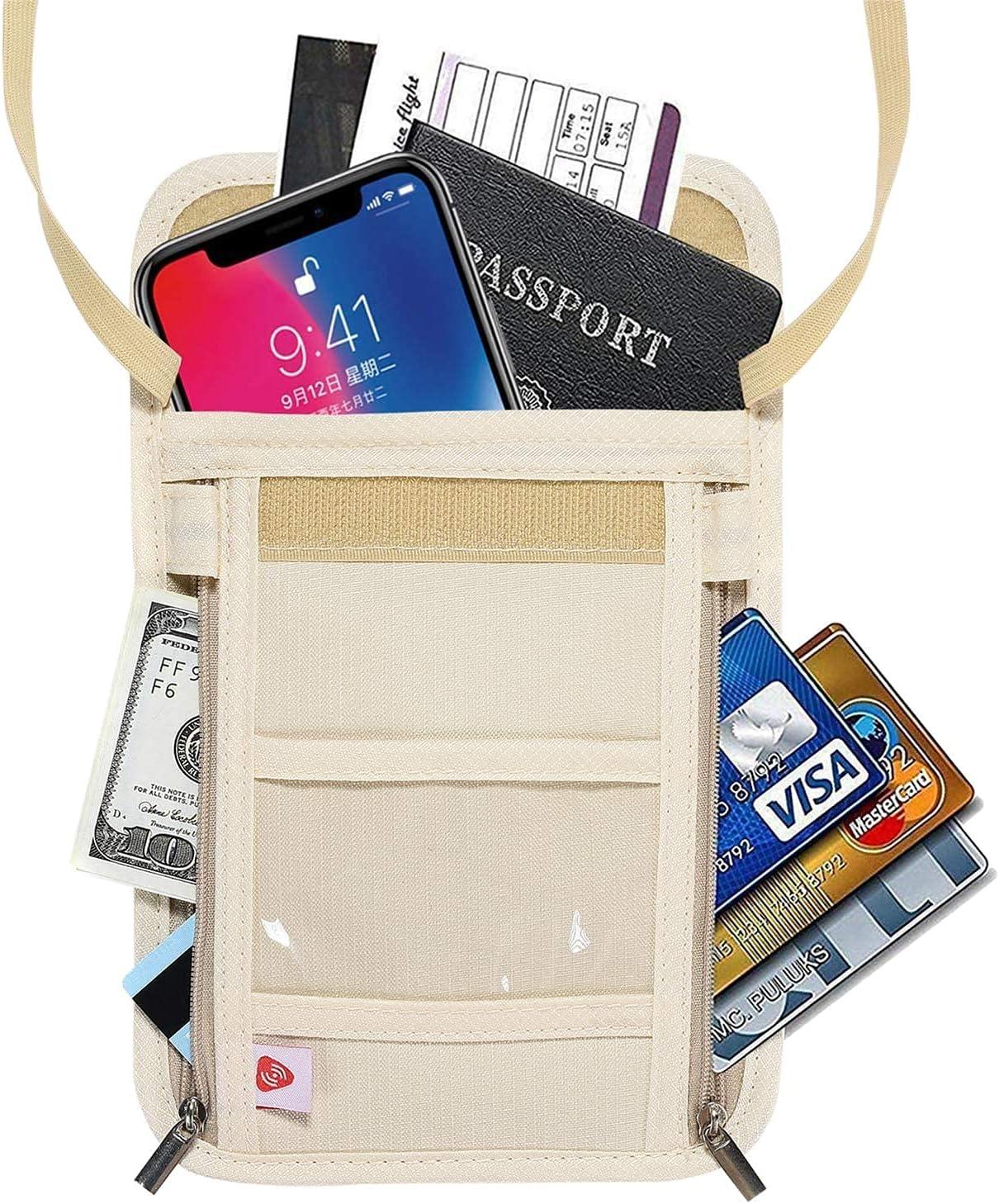 AIKELIDA Passport Holder Max 73% [Alternative dealer] OFF Neck Wallet with Pouch Organizer Travel