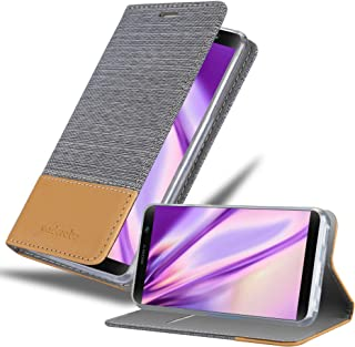 Cadorabo Book Case Works with Sony Xperia XA2 Plus in Light Grey Brown - with Magnetic Closure, Stand Function and Card Slot - Wallet Etui Cover Pouch PU Leather Flip