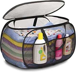 TENRAI Strong Mesh Horizontal Pop Up Laundry Hamper, Easy to Carry Up and Down Stairs, Large Opening Pop-Up Laundry Hamper with Zipper Closure, Large Opening Folding Clothes Hamper for Home & Travel.
