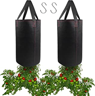 2 Pack Hanging Planter for Tomato, Upside Down Grow Bags, Fabric Plant Pots for Growing Tomato with Hooks Included