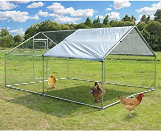 Large Metal Chicken Coop Walk-in Poultry Cage Hen Run House Rabbits Habitat Cage Spire Shaped Coop with Waterproof and Ant...