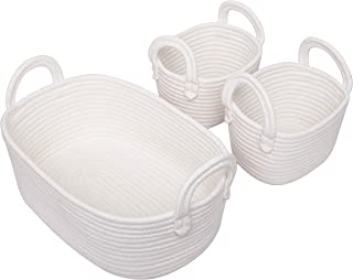 Woven Basket Set of 3 - Storage Cotton Rope Baskets, Small Baby White Organizer Bin for Nursery Laundry Kids Toy