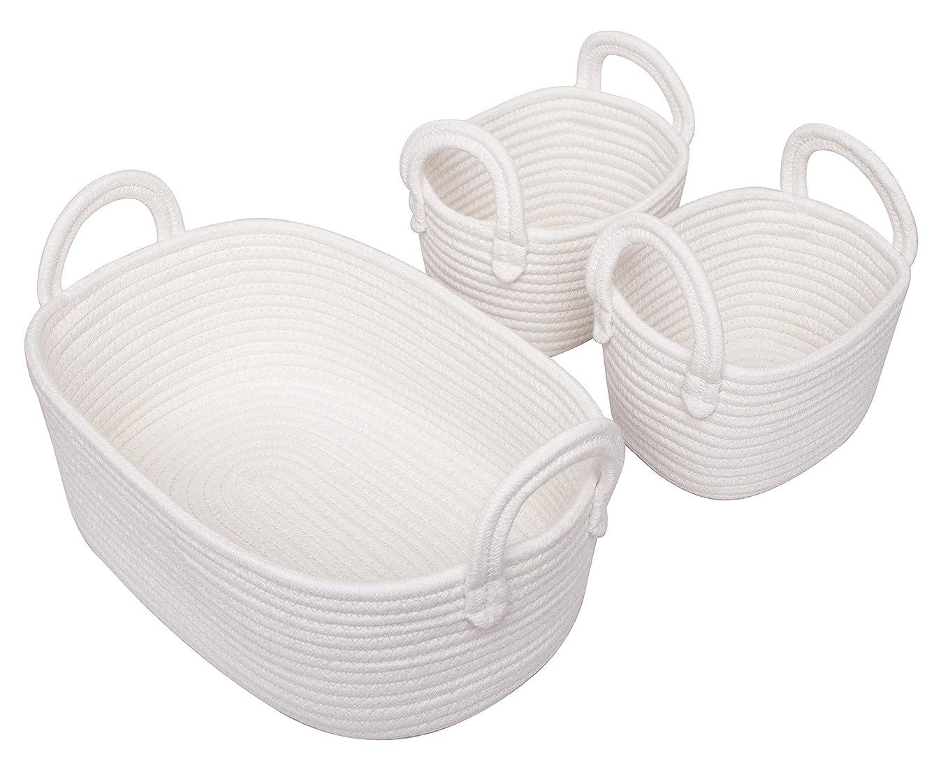 Cotton Rope Storage Baskets, Set of 3 Toy Organizer for Woven Nursery Decor, Gift Basket