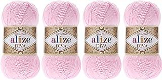 Alize Diva Thread Crochet Hand Knitting Lot of 4 skn 400gr 1532yds 100% Microfiber Acrylic Color (185 Baby Pink)