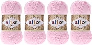 Hand Knitting Yarn 100% Microfiber Acrylic Yarn Alize Diva Silk Effect Thread Crochet Art Lace Craft Lot of 4 skeins 400gr 1532yds Color (185 Baby Pink)