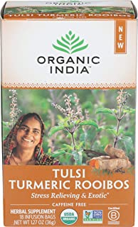 ORGANIC INDIA Tulsi Infusion Tea: Turmeric Rooibos, 18 CT