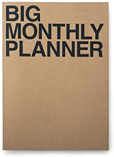 JSTORY Big Monthly Planner Stitch Bound Lays Flat Huge Undated Year Round Flexible Cover Goal/Time Organizer Thick Paper Eco Friendly Customizable A3 16 Months 18 Sheets Kraft