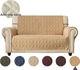 Ameritex Loveseat Cover 100% Waterproof Quilted Furniture Protector with Back Nonslip Paws Slipcover for Dogs, Kids, Pets Loveseat Slipcover Stay in Place for Leather Couch (Pattern1:Sand, Loveseat)