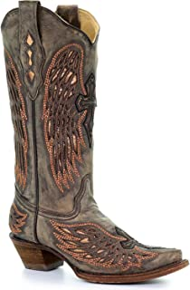 CORRAL Women's Sand Wings and Cross Inlay Cowgirl Boot Snip Toe