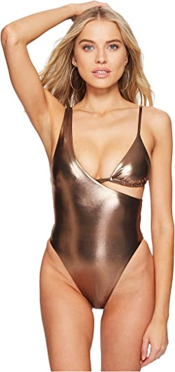 Sports Illustrated Femme Fatal Asymmetrical Shiny One-Piece