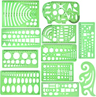 11 Piece Geometric Drawing Template Measuring Ruler, Transparent Green Plastic Ruler with Portable Plastic Bag for, for Studying, Designing and Building